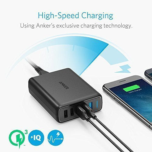Anker Quick Charge 3.0 63W 5-Port USB Wall Charger, PowerPort Speed 5 for Galaxy S7/S6/Edge/Plus, Note 5/4 and PowerIQ for iPhone X / 8 / 7 / 6s / Plus, iPad Pro/Air 2/mini, LG, Nexus, HTC
